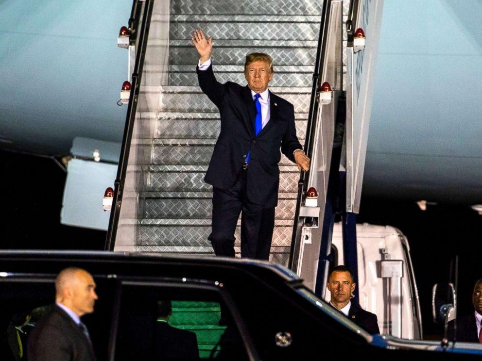 PHOTO: President Donald J. Trump walks off Air Force One as he arrives at the Paya Lebar Air Base in Singapore, June 10, 2018.