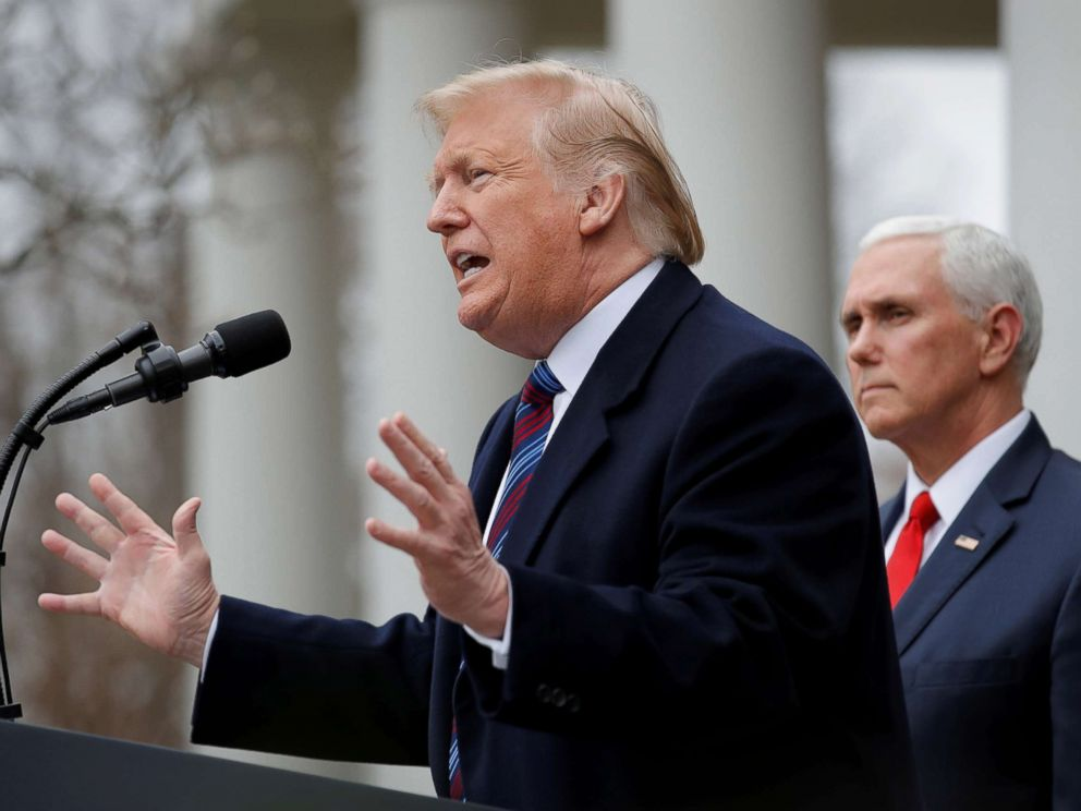 PHOTO: President Donald Trump speaks to reporters in the Rose Garden after a meeting with Congressional leaders about the government shutdown at the White House in Washington, Jan. 4, 2019. Vice President Mike Pence is at right.