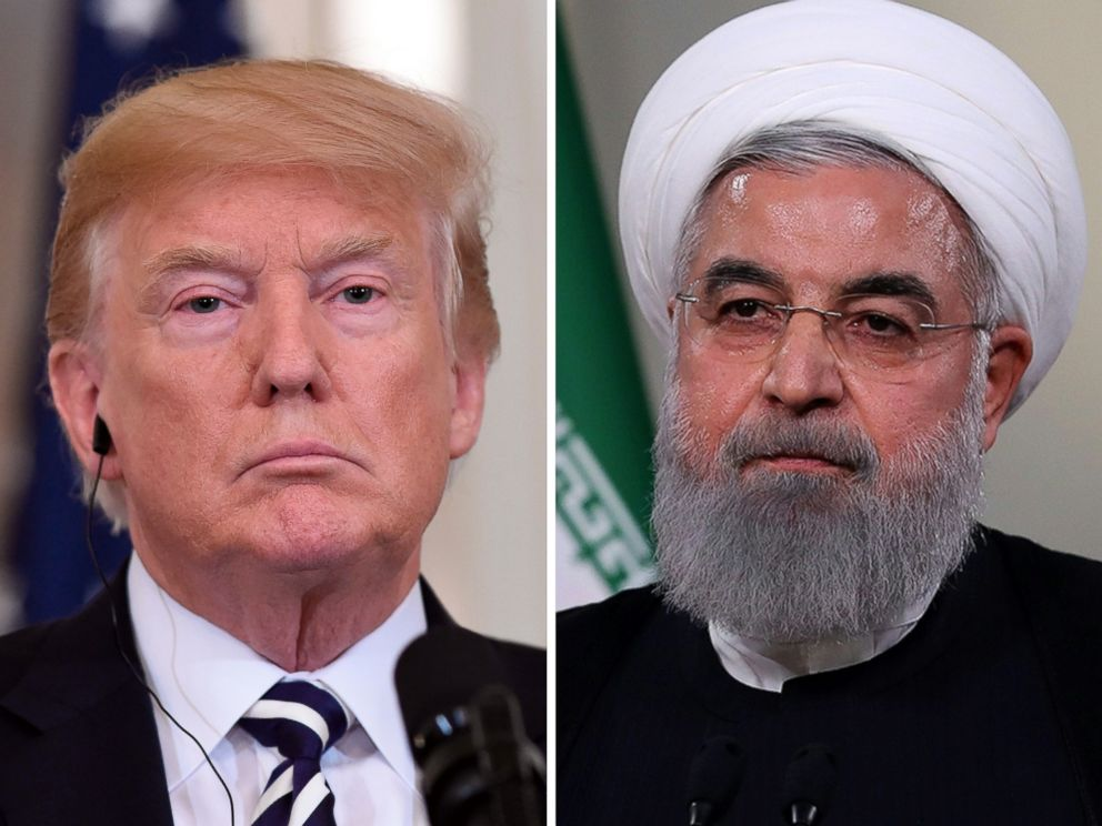 PHOTO: President Donald Trump is pictured in Washington, July 30, 2018 and Iranian President Hassan Rouhani is pictured giving a speech in Tehran, May 2, 2018.