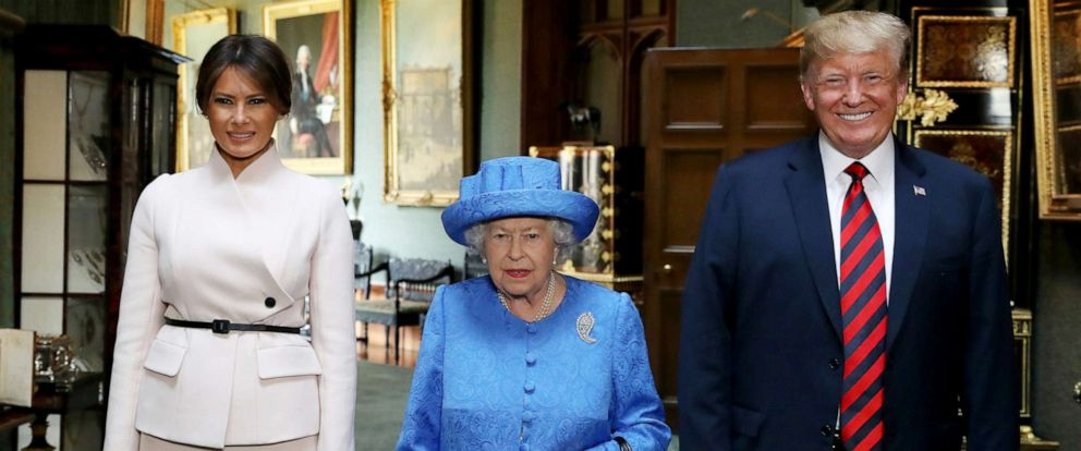 PHOTO: Queen Elizabeth stands with President Donald Trump and his wife, Melania at Windsor Castle, Windsor, Britain July 13, 2018.