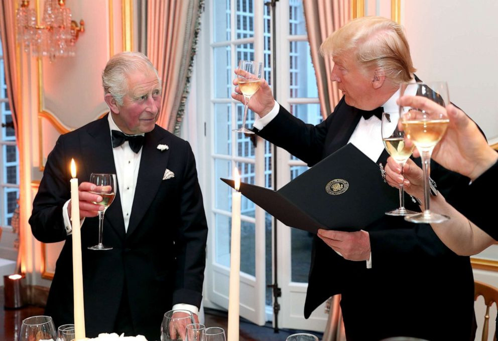 PHOTO: President Donald Trump and First Lady Melania Trump host a dinner at Winfield House for Prince Charles, Prince of Wales and Camilla, Duchess of Cornwall, during their state visit, June 4, 2019, in London.
