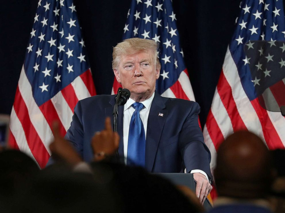 PHOTO: U.S. President Donald Trump speaks during a Black Voices for Trump campaign event in Atlanta, Georgia, U.S., November 8, 2019.
