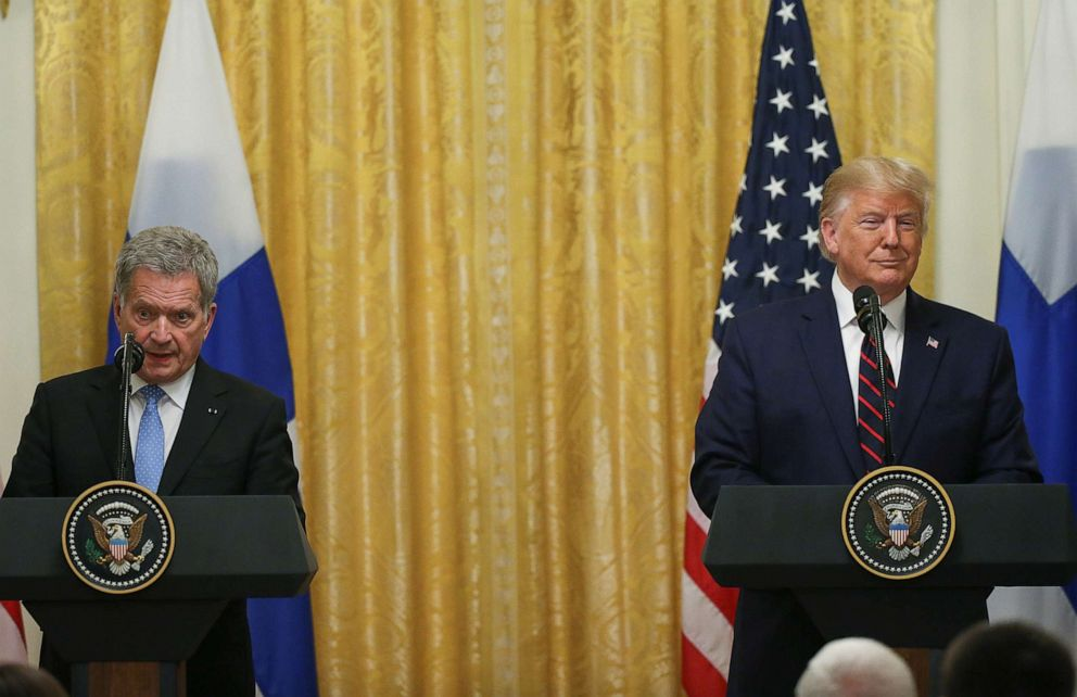 PHOTO: President Donald Trump listens as Finlands President Sauli Niinisto addresses a joint news conference in the East Room of the White House, Oct. 2, 2019.