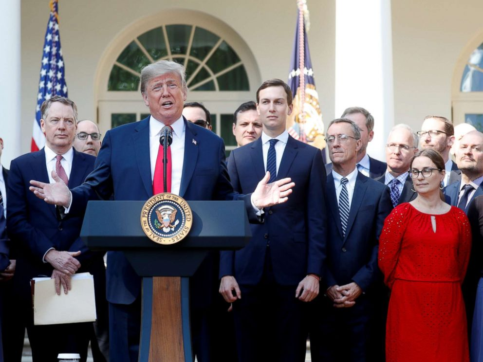 PHOTO: President Donald Trump delivers remarks on the United States-Mexico-Canada Agreement (USMCA) during a news conference in the Rose Garden of the White House in Washington, Oct. 1, 2018.