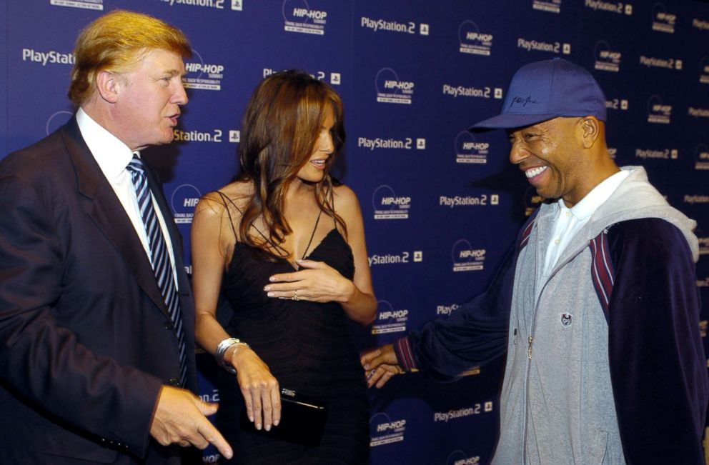 PHOTO: Donald Trump, Melania Knauss and Russell Simmons at Beverly Hills Hotel in Beverly Hills, Calif.