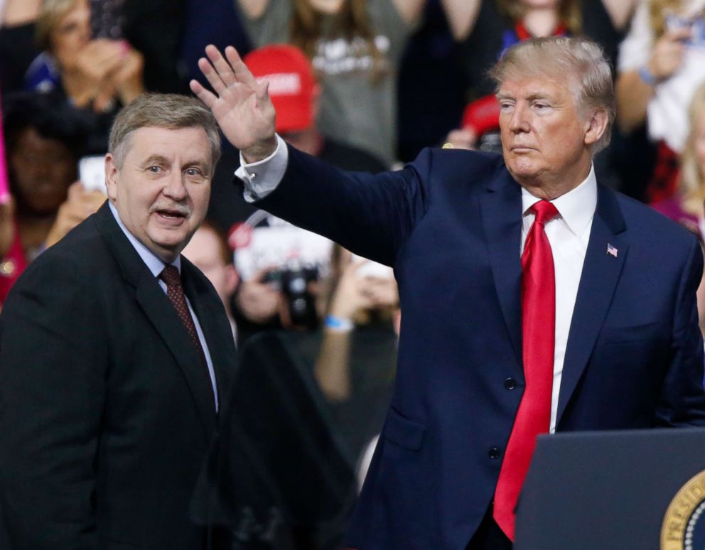 PHOTO: President Donald Trump acknowledges the crowd during a campaign rally with Republican Rick Saccone, March 10, 2018, in Moon Township, Pa.