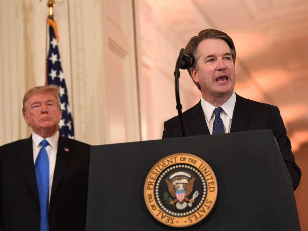 PHOTO: Judge Brett Kavanaugh speaks after being nominated by US President Donald Trump to the Supreme Court in the East Room of the White House on July 9, 2018 in Washington.