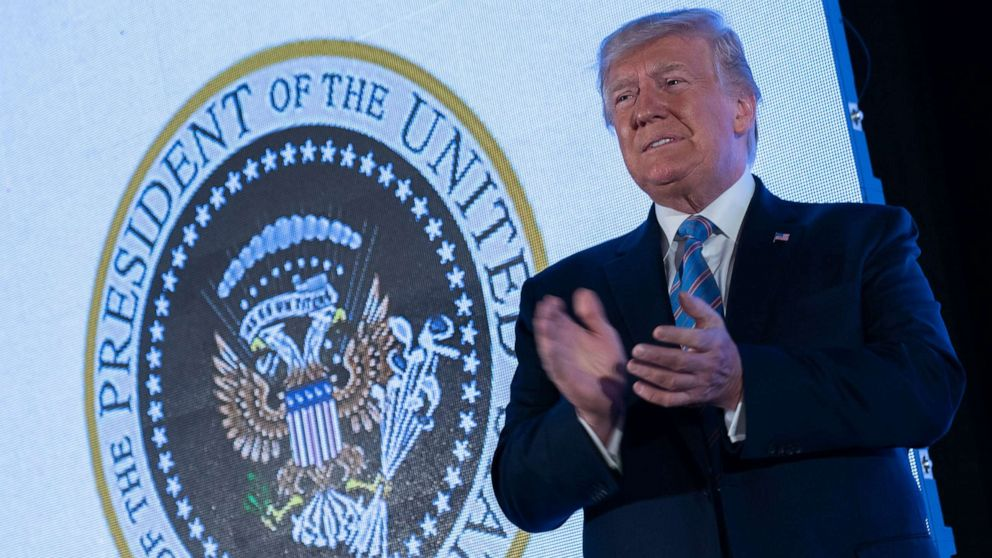 Doctored Presidential Seal Projected Behind President Trump Abc News