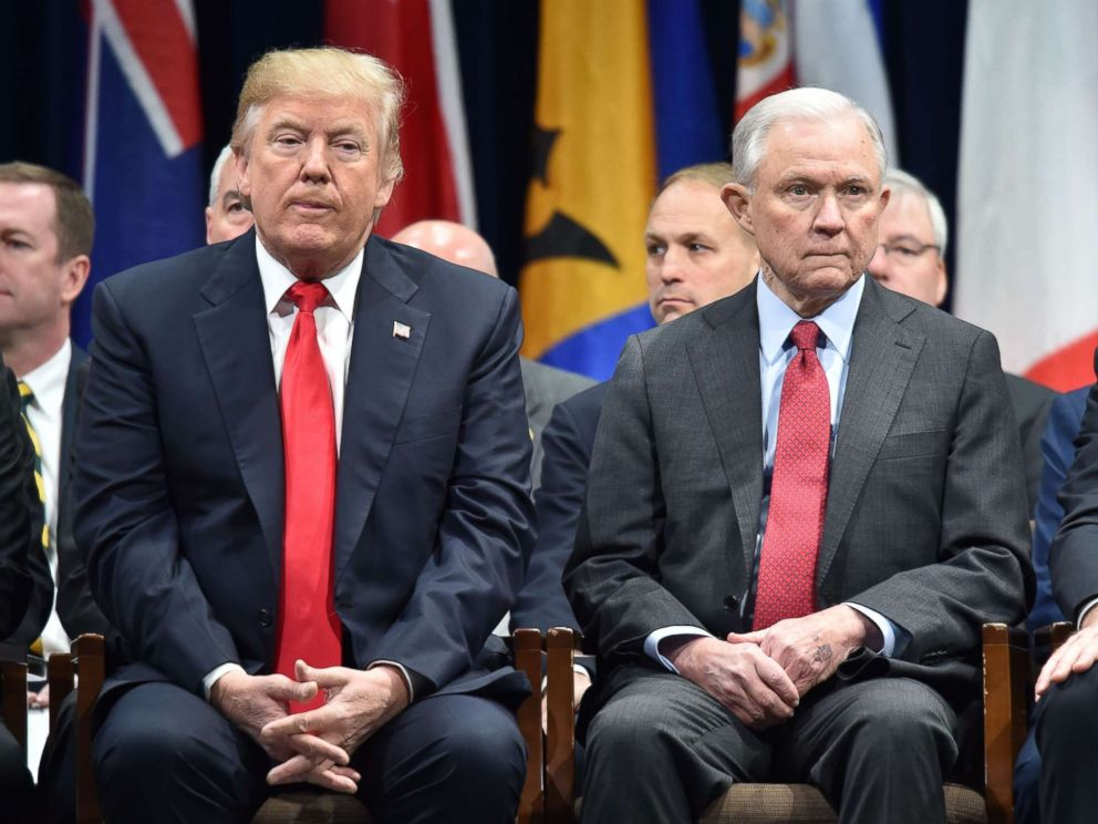 PHOTO: President Donald Trump sits with Attorney General Jeff Session, Dec. 15, 2017, in Quantico, Va., before participating in the FBI National Academy graduation ceremony.