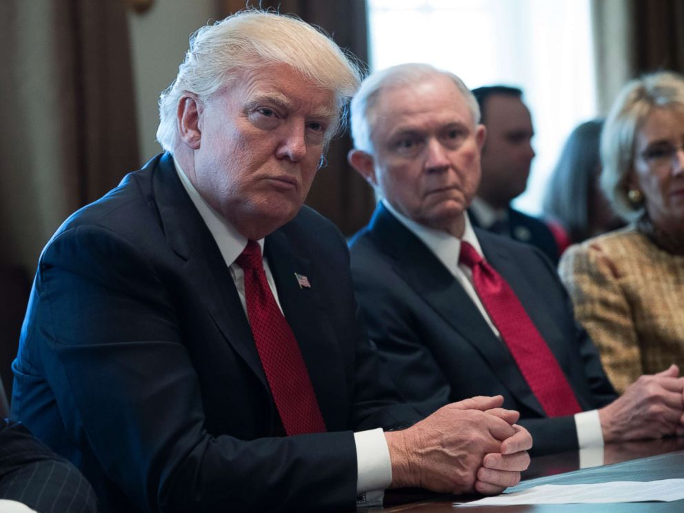 PHOTO: President Donald Trump and Attorney General Jeff Sessions attend a panel discussion on opioid and drug abuse in the Roosevelt Room of the White House, March 29, 2017.