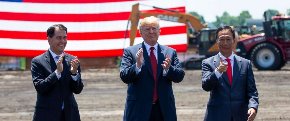 PHOTO: Wisconsin Governor Scott Walker, President Donald Trump, and Terry Gou, Chairman of Foxconn during the official groundbreaking for the Foxconn factory in Mount Pleasant, Wisconsin, June 28,2018.
