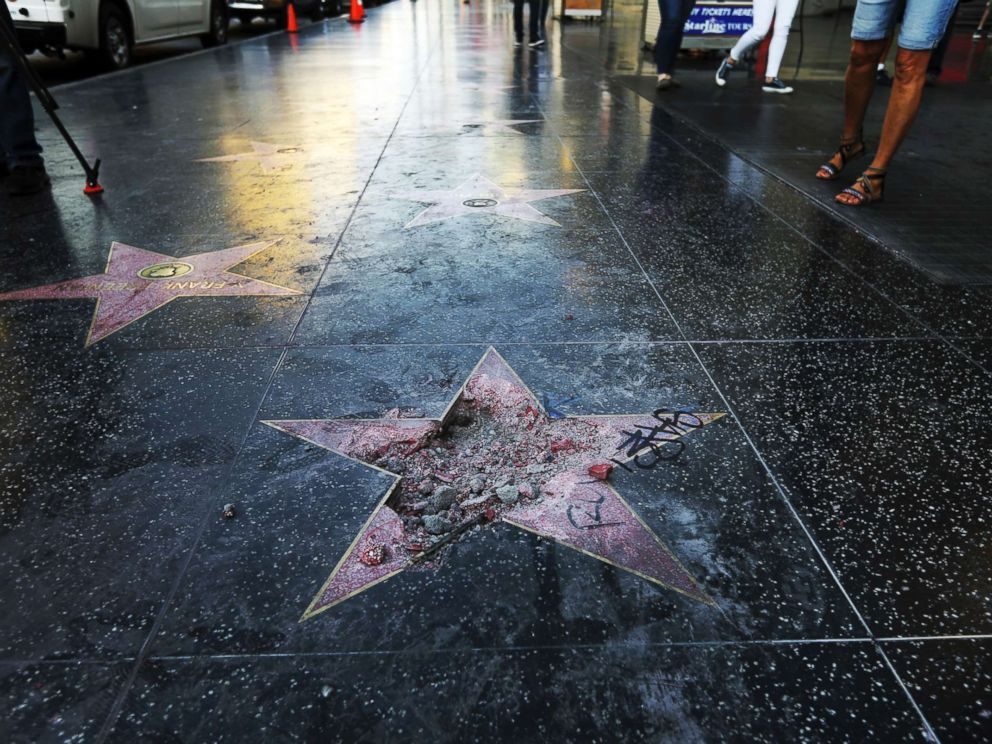 PHOTO: The damage done to Donald Trumps star on the Hollywood Walk of Fame that was vandalized, July 25, 2018, in Los Angeles. Authorities said a pickax was used in the vandalism.