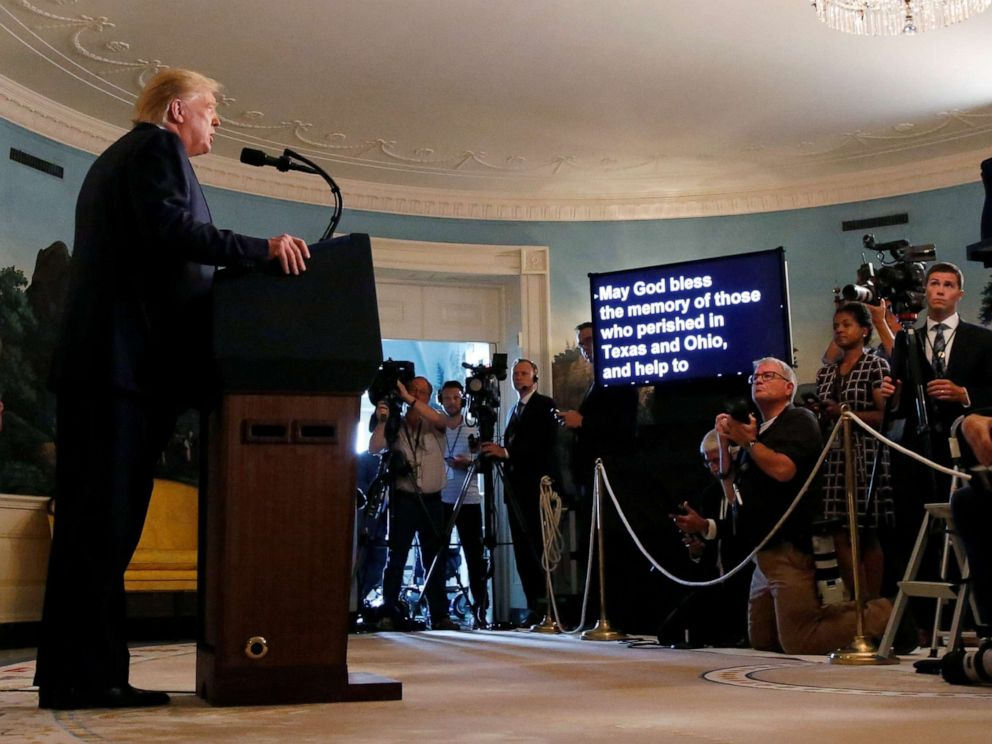 PHOTO: President Donald Trump makes a statement to the news media about the recent mass shootings in El Paso, Texas, and Dayton, Ohio, from the Diplomatic Reception Room of the White House, Aug. 5, 2019.