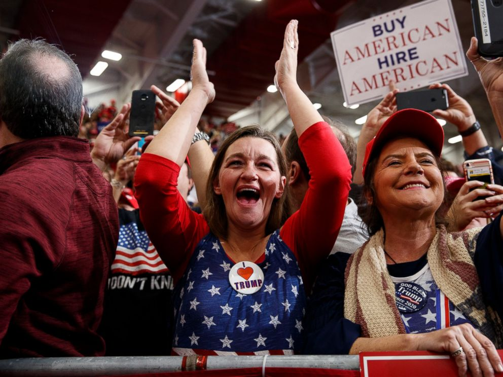 PHOTO: Supporters of President Donald Trump cheer as he arrives for a campaign rally at Southport High School, Friday, Nov. 2, 2018, in Indianapolis.