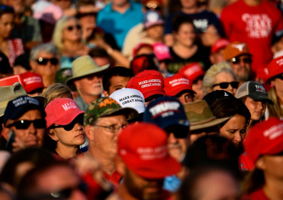 PHOTO: Rally attendees wait for the arrival of President Donald Trump during a Make America Great Again rally at Aaron Bessant Amphitheater in Panama City Beach, Fla., May 8, 2019.