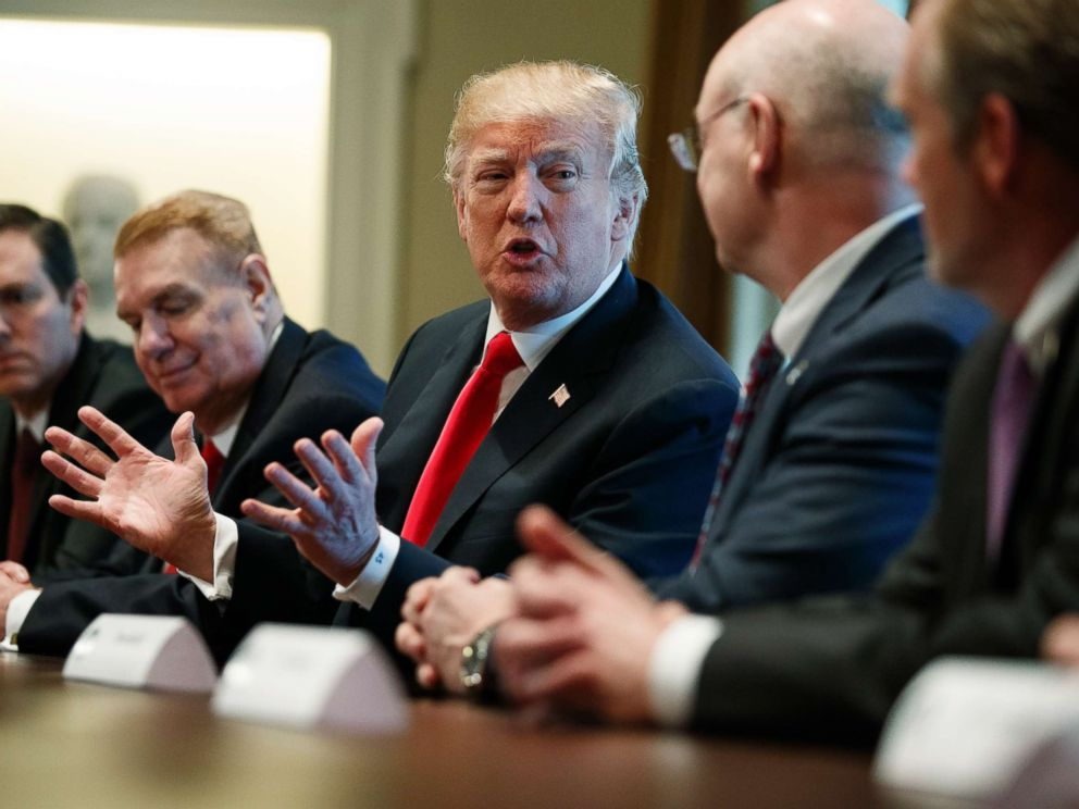 PHOTO: President Donald Trump speaks during a meeting with steel and aluminum executives in the Cabinet Room of the White House, March 1, 2018.
