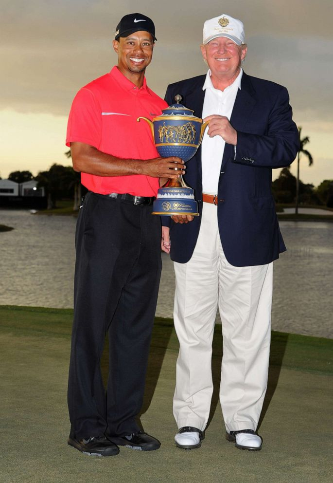 PHOTO: Tiger Woods and Donald Trump pose with the winners trophy after the final round of the World Golf Championships-Cadillac Championship at TPC Blue Monster at Doral, March 10, 2013, in Doral, Fla.