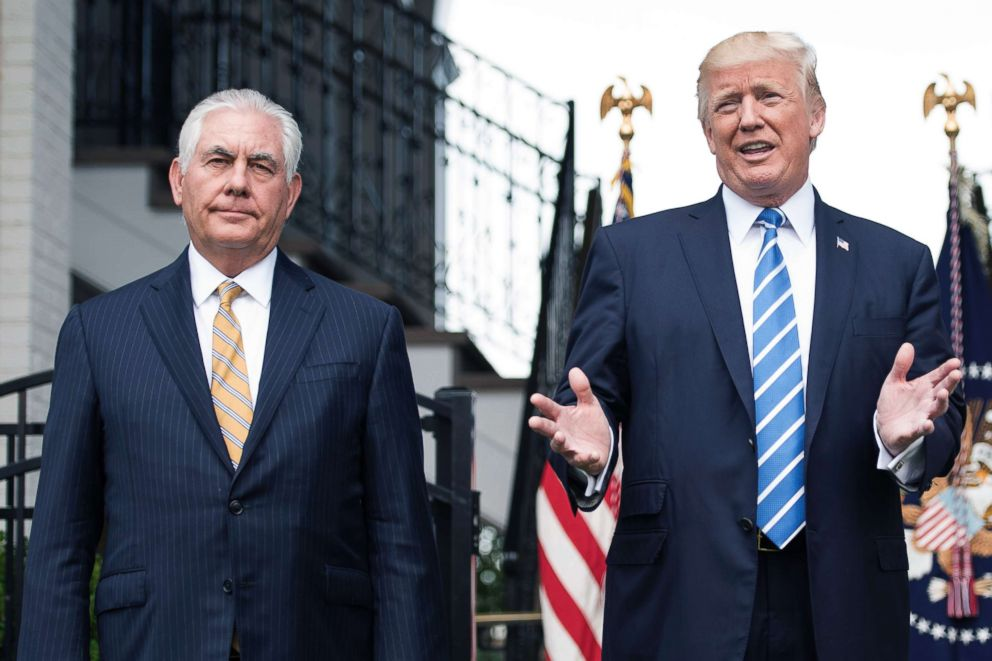 PHOTO: Secretary of State Rex Tillerson and President Donald Trump speaks to the press, Aug. 11, 2017, at Trump National Golf Club in Bedminster, N.J.
