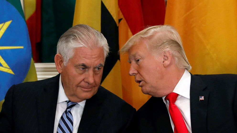 President Donald Trump and Secretary of State Rex Tillerson confer during a working lunch with African leaders during the U.N. General Assembly in New York in this  Sept. 20, 2017 file photo.