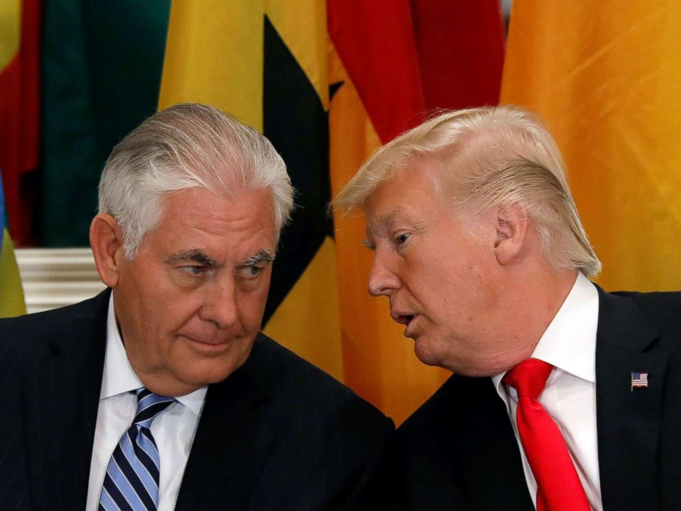 PHOTO: President Donald Trump and Secretary of State Rex Tillerson confer during a working lunch with African leaders during the U.N. General Assembly in New York in this Sept. 20, 2017 file photo.