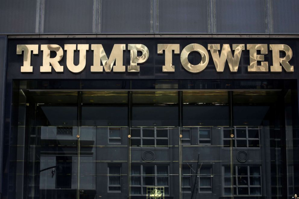 PHOTO: The Trump Tower logo is pictured in New York, May 23, 2016.