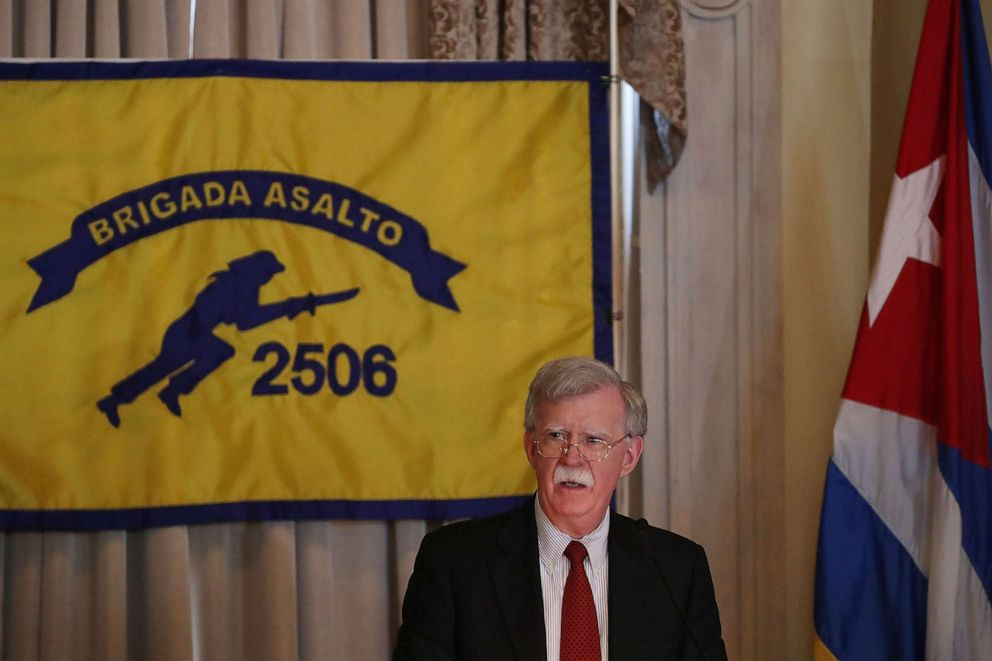 PHOTO: John R. Bolton speaks during the Bay of Pigs Veterans Association luncheon on April 17, 2019, in Coral Gables, Fla.