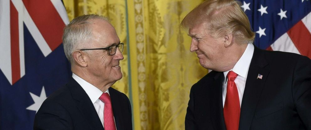 PHOTO: President Donald Trump and Australian Prime Minister Malcolm Turnbull shake hands ahead of a joint press conference in the East Room of the White House, Feb. 23, 2018, in Washington.