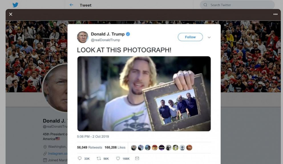 Trump tweet of Nickelback video aimed at Biden removed