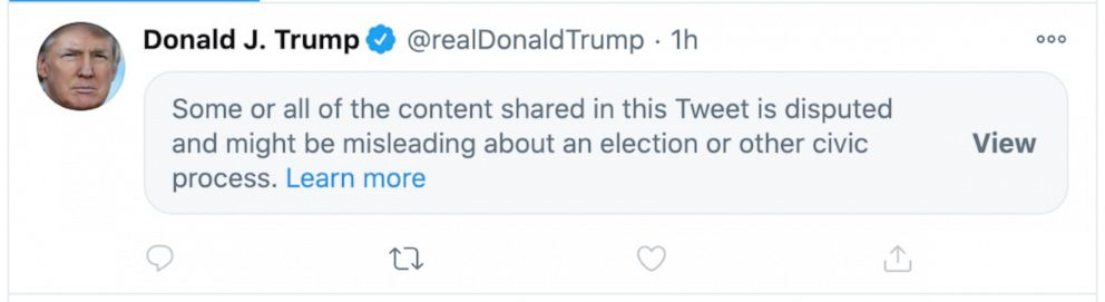 Twitter and Facebook slap labels on Trump's 'misleading' election posts -  ABC News