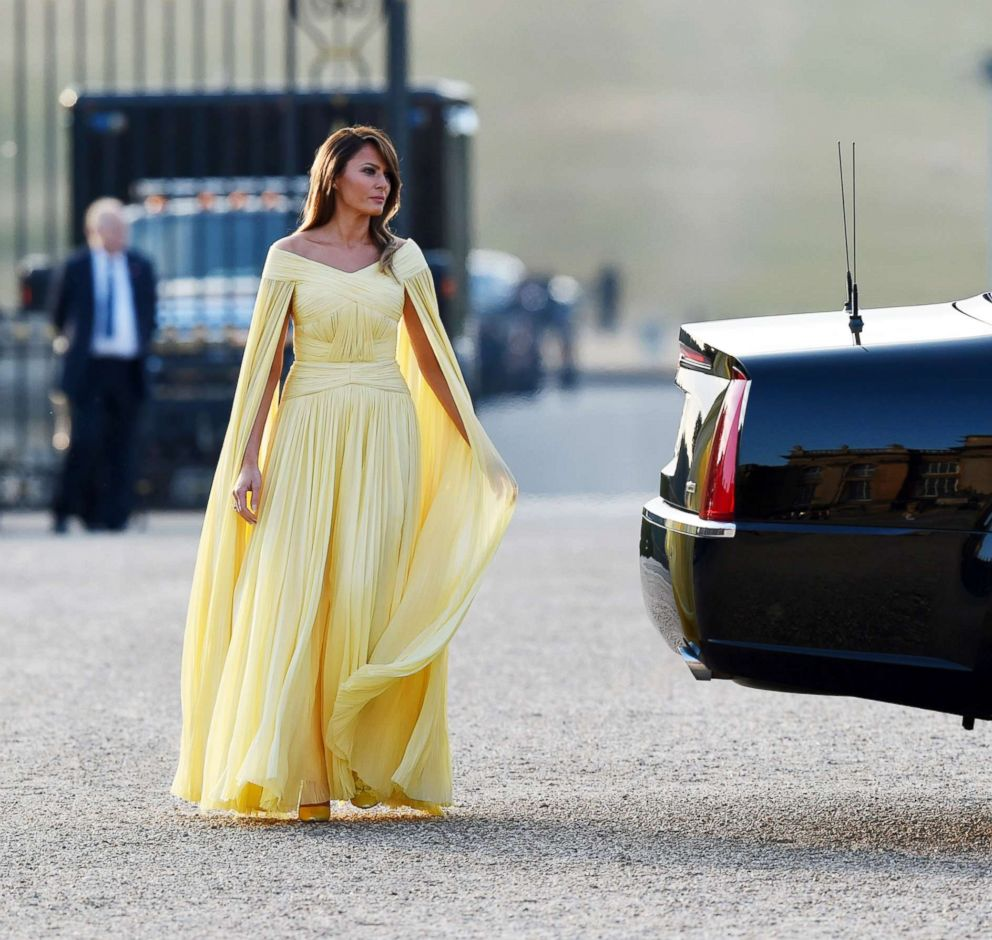 PHOTO: First Lady Melania Trump arrives at Blenheim Palace on July 12, 2018, in Woodstock, England.
