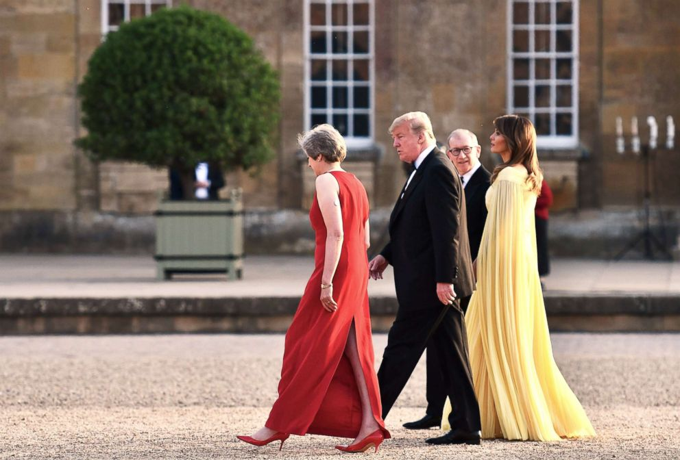 PHOTO: Britains Prime Minister Theresa May (L) and her husband Philip May (2R) walk with President Donald Trump and First Lady Melania Trump as the president and the first lady arrive for a dinner at Blenheim Palace, west of London, July 12, 2018.