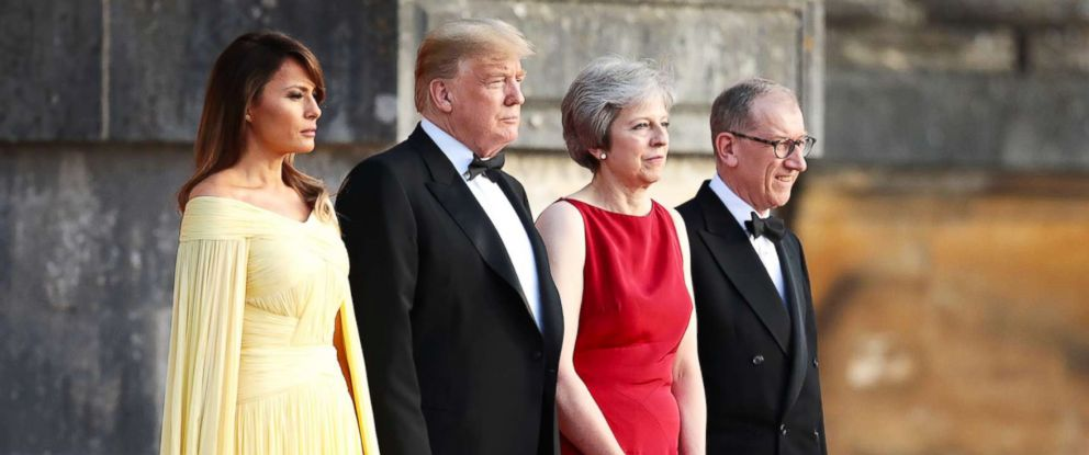 PHOTO: Britains Prime Minister Theresa May and her husband Philip May greet President Donald Trump and First Lady Melania Trump at Blenheim Palace on July 12, 2018 in Woodstock, England.