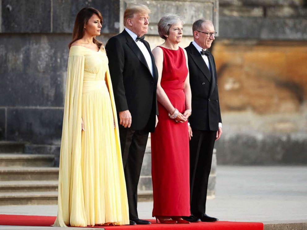 Theresa May and her husband Philip May greet President Donald Trump and First Lady Melania Trump at Blenheim Palace