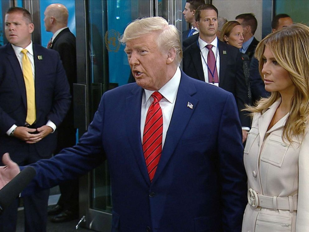 PHOTO: President Donald Trump accompanied by his wife Melania, arrives at the UN General Assembly in New York, Sept. 24, 2019.