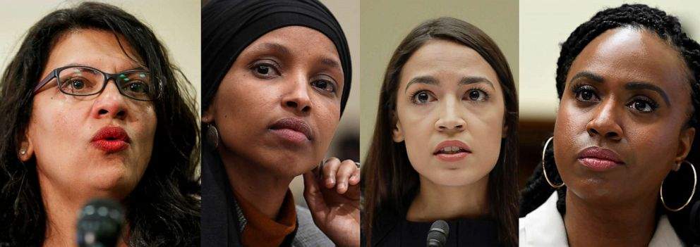 PHOTO: In this combination image from left; Rep. Rashida Tlaib, July 10, 2019, Washington, Rep. Ilhan Omar, March 12, 2019, in Washington, Rep. Alexandria Ocasio-Cortez, July 12, 2019, in Washington, and Rep. Ayanna Pressley, July 10, 2019, in Washington.
