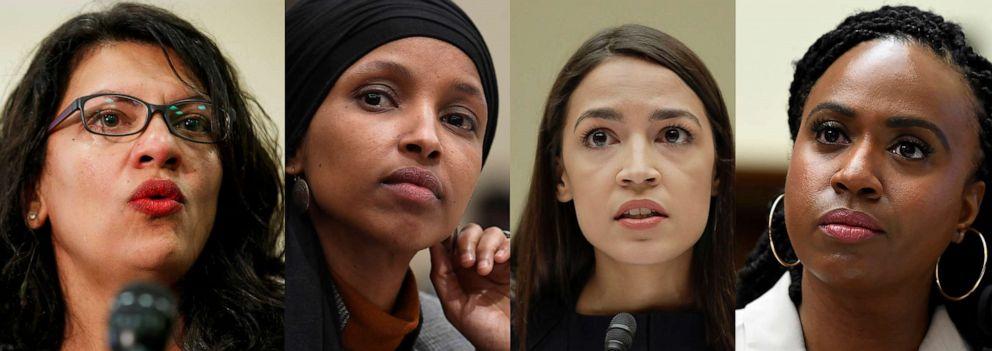 PHOTO: In this combination image from left; Rep. Rashida Tlaib, July 10, 2019, Washington, Rep. Ilhan Omar, March 12, 2019, in Washington, Rep. Alexandria Ocasio-Cortez, July 12, 2019, in Washington, and Rep. Ayanna Pressley, July 10, 2019, in Washington.