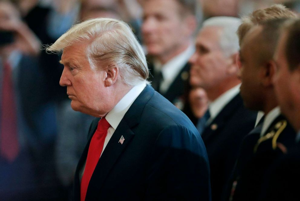 PHOTO: President Donald Trump arrives at a Wounded Warrior Project Soldier Ride event in the East Room of the White House, April 18, 2019.