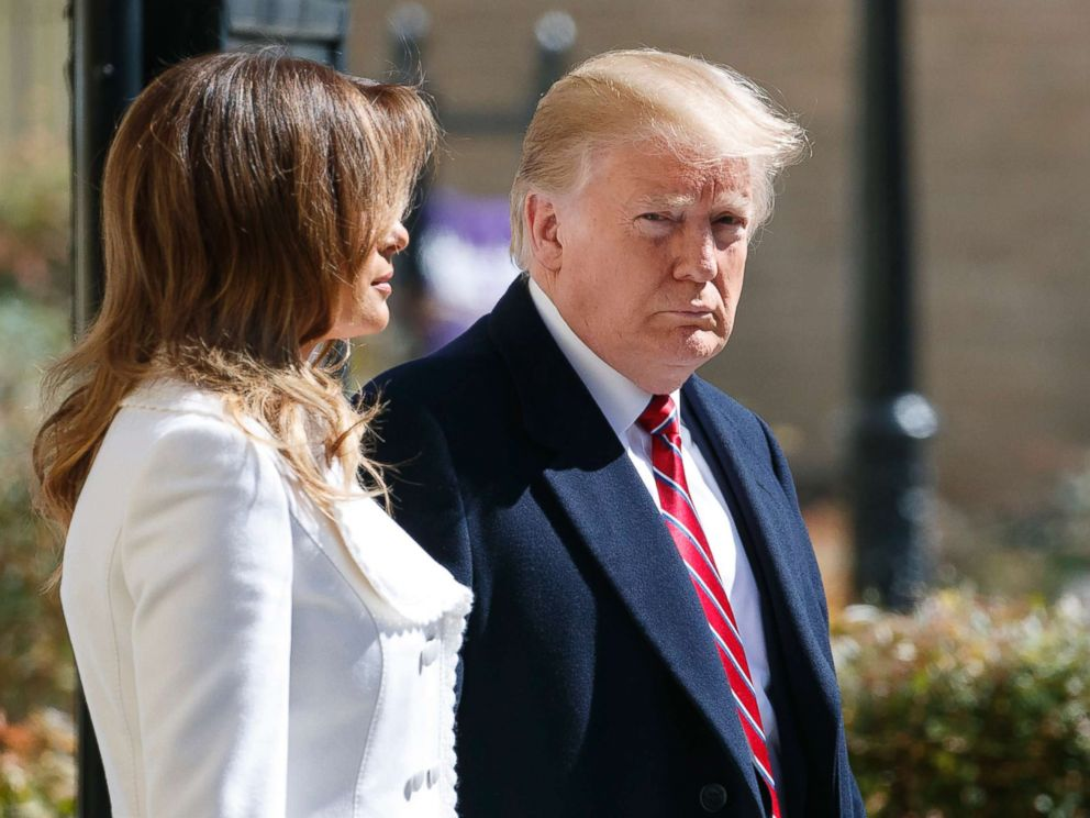 PHOTO: President Donald Trump and first lady Melania Trump walk leave after attending service at Saint Johns Church in Washington, D.C., March 17, 2019.