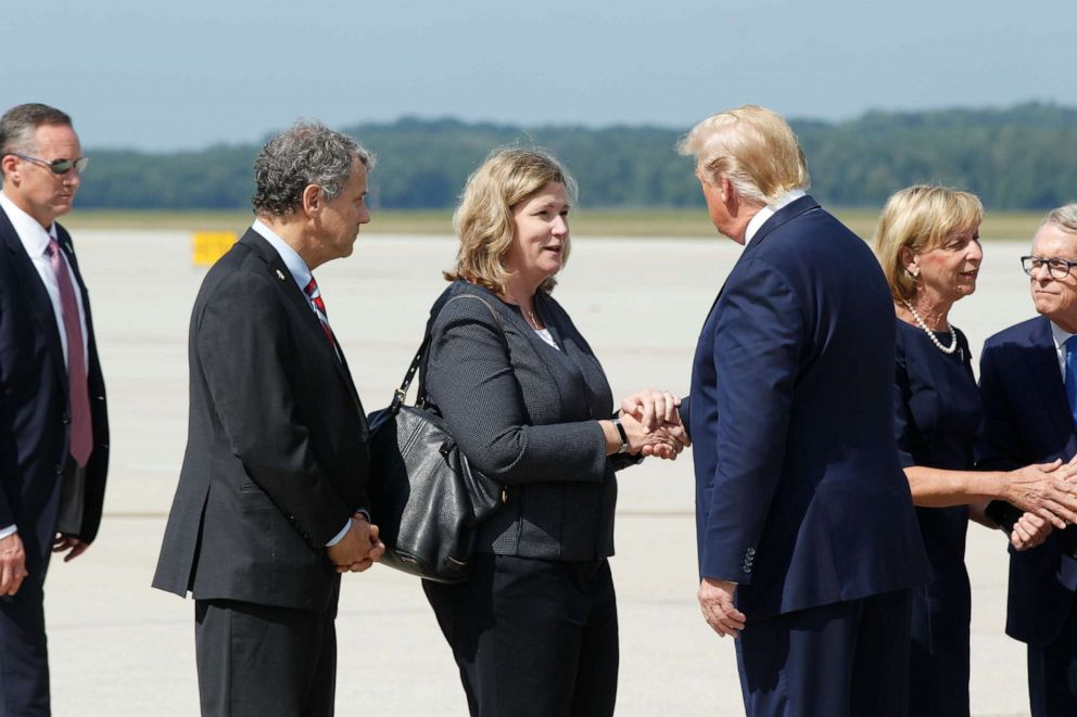 PHOTO: President Donald Trump greets Dayton Mayor Nan Whaley at Wright Patterson Air Force Base, Wednesday, Aug. 7, 2019, in Dayton, Ohio.