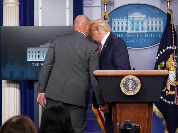Secret Service escorts Trump from briefing room after shooting outside White House