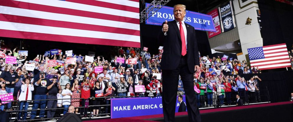PHOTO: President Donald Trump gives a thumbs up during a rally at WesBanco Arena in Wheeling, West Virginia on September 29, 2018.