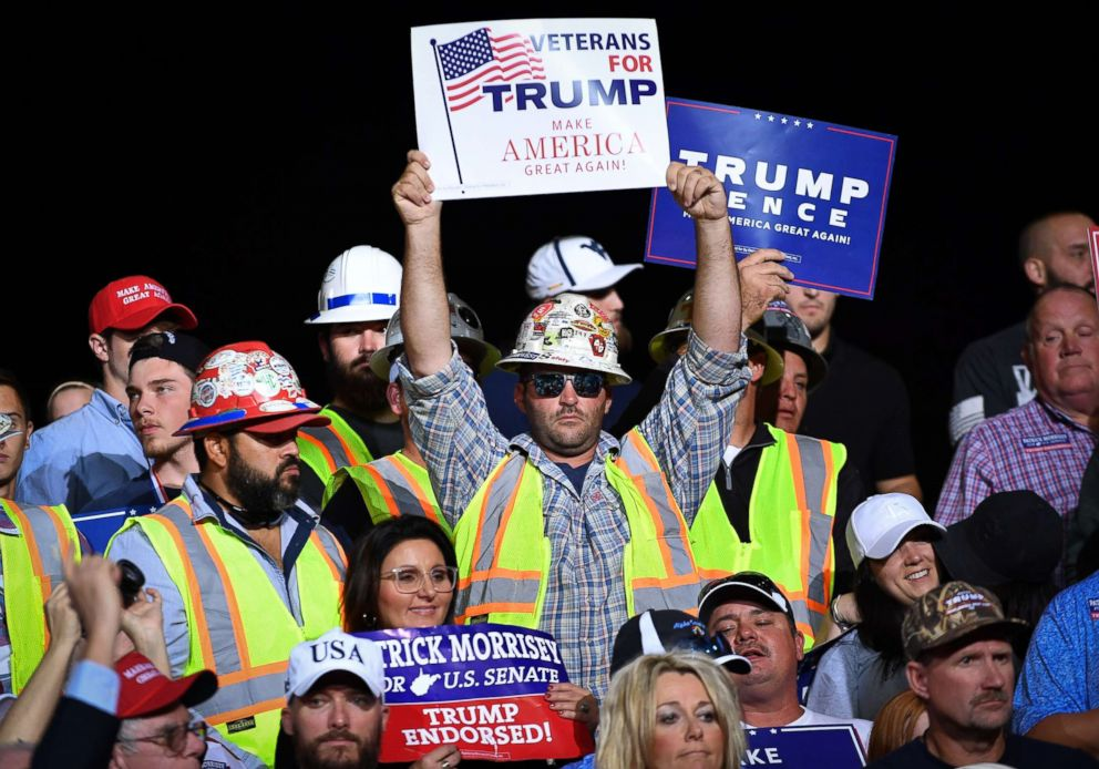 PHOTO: Supporters are seen before the start of a rally by President Donald Trump at WesBanco Arena in Wheeling, West Virginia on September 29, 2018.