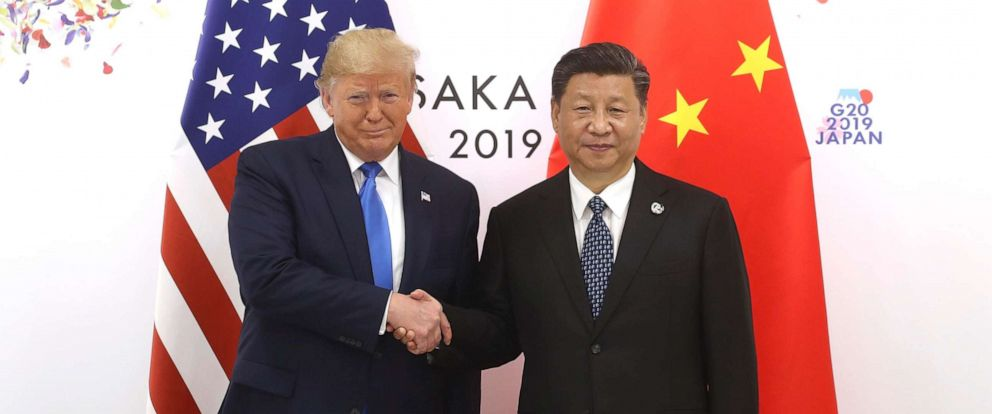 PHOTO: Chinese President Xi Jinping shakes hands with US President Donald Trump before a bilateral meeting during the G20 Summit on June 29, 2019 in Osaka, Japan.