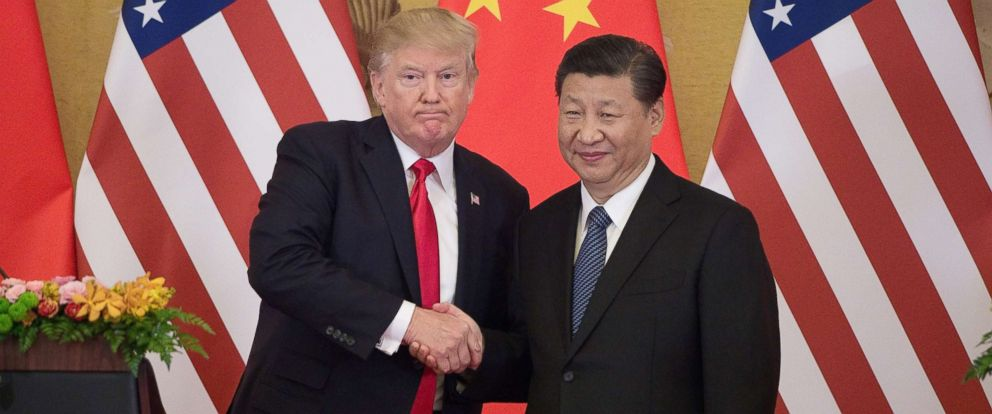 PHOTO: President Donald Trump shakes hands with Chinas President Xi Jinping during a press conference at the Great Hall of the People in Beijing on Nov. 9, 2017.