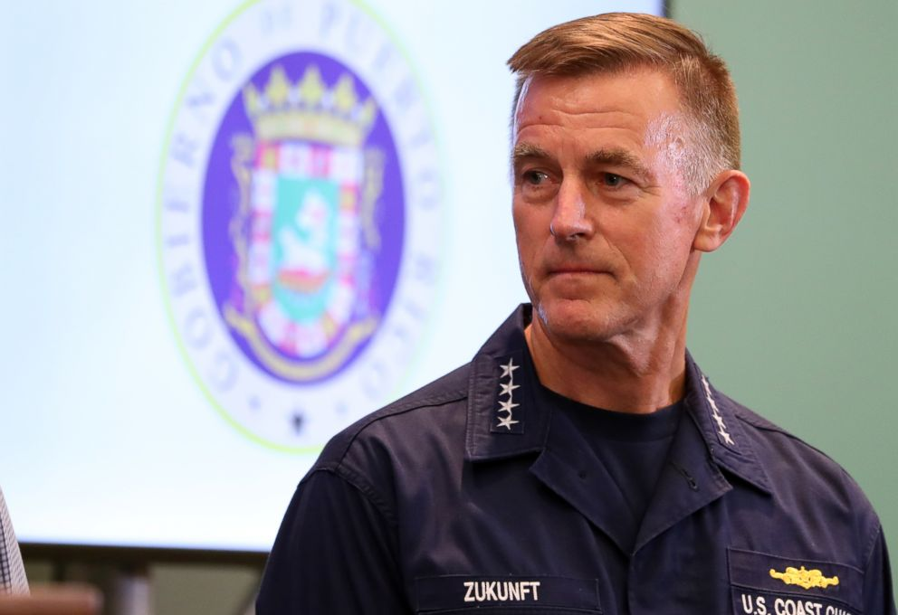 U.S. Coast Guard Commandant Paul Zukunft, shown at a press briefing held at the convention center in San Juan, Puerto Rico to discuss the situation in regard to Hurricane Maria which devastated the island, Sept. 25, 2017.