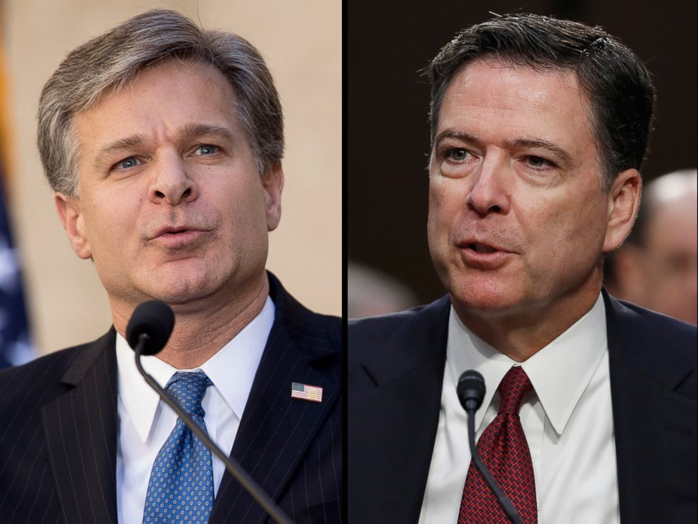 PHOTO: FBI Director Christopher A. Wray, left and former Director James Comey.