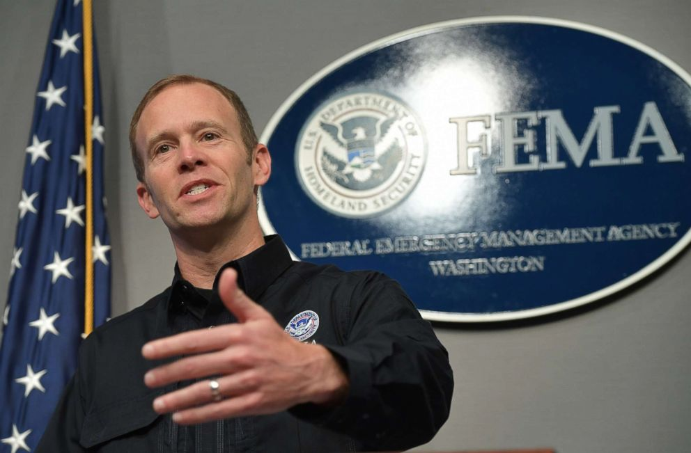 PHOTO: FEMA Administrator Brock Long speaks during a press conference on the federal response to Hurricane Irma at FEMA headquarters in Washington, DC, on Sept. 12, 2017.