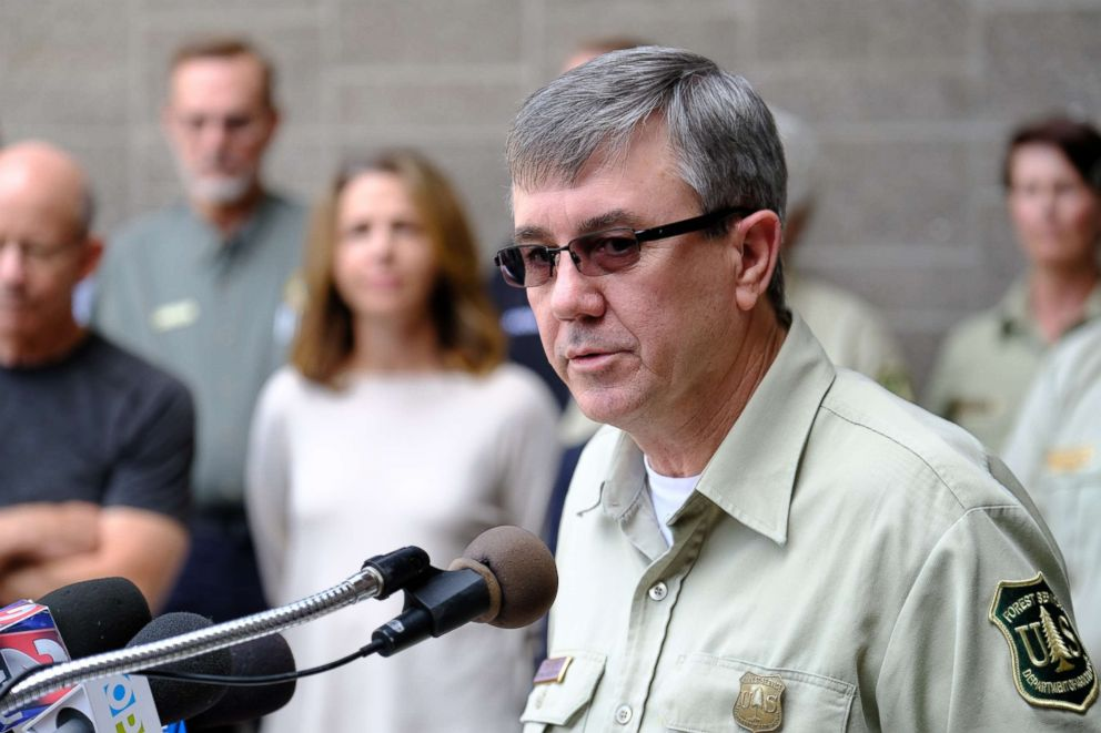 PHOTO: U.S. Forest Service Chief, Tony Tooke, speaks during a media briefing for the Eagle Creek Fire in Troutdale, Ore.,Sept. 9, 2017.