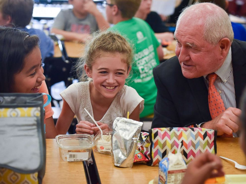 PHOTO: Sonny Perdue, Secretary of Agriculture, sits for lunch with 5th graders at Catoctin Elementary School on May 1, 2017, in Leesburg, VA. Perdue and Sen. Pat Roberts unveiled an interim rule designed to provide flexibility for school meals.