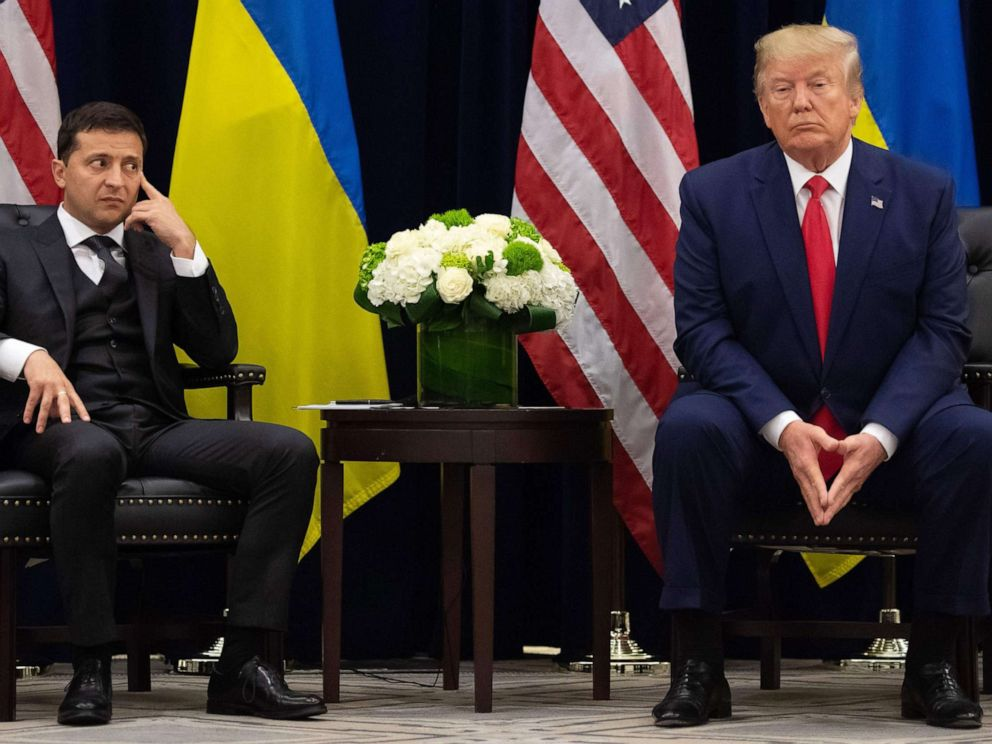 PHOTO: President Donald Trump and Ukrainian President Volodymyr Zelensky looks on during a meeting in New York on the sidelines of the United Nations General Assembly on Sept. 25, 2019.